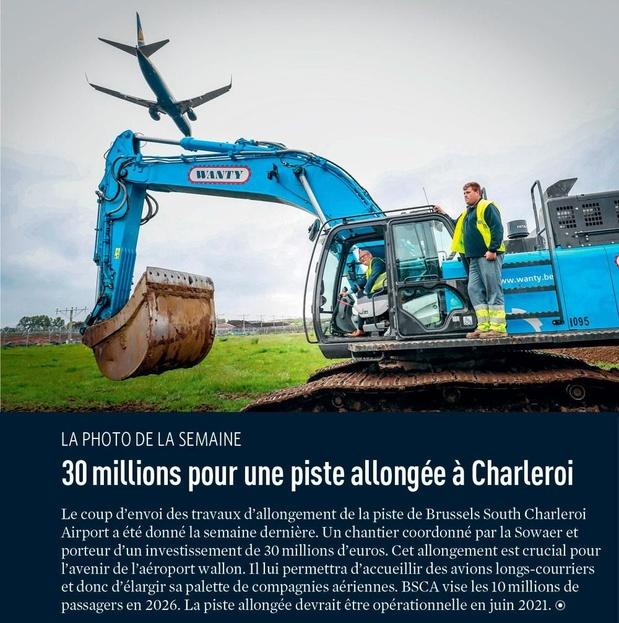 30 millions pour une piste allongée à Charleroi