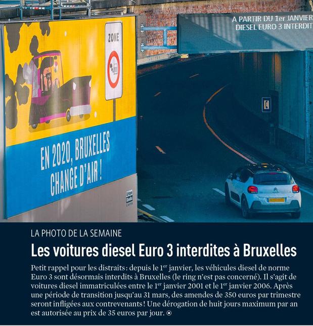 Les voitures diesel Euro 3 interdites à Bruxelles