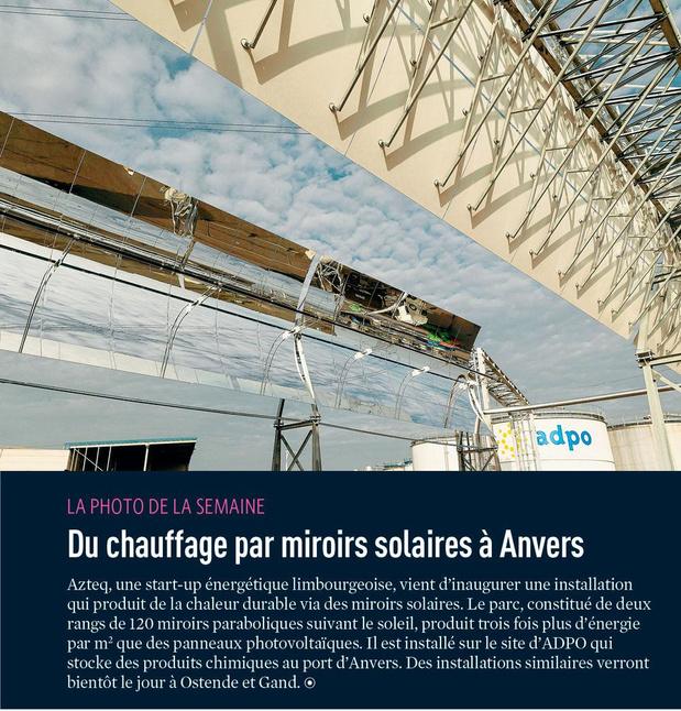 Du chauffage par miroirs solaires à Anvers