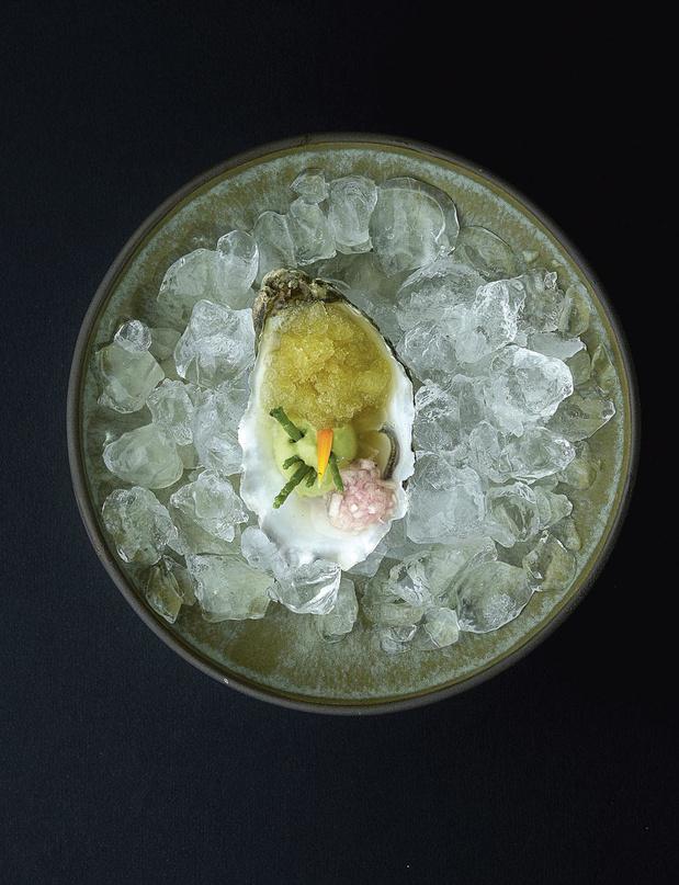 Huîtres Gillardeau mayonnaise à la salicorne, granité de bergamote