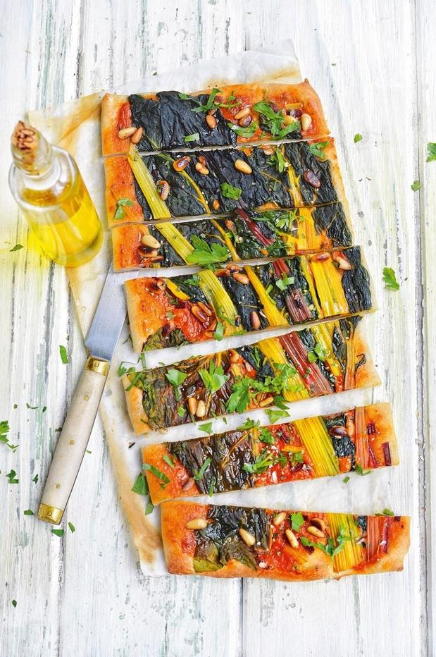 Pizza met snijbiet