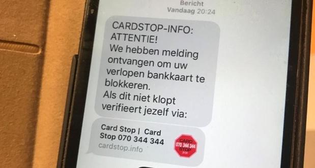Let op voor valse smsjes in naam van Card Stop