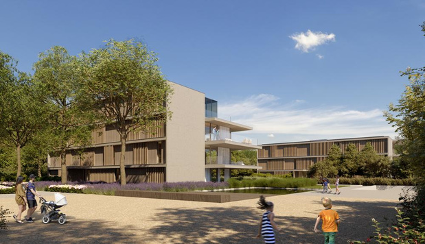 Zeven nieuwe woonblokken aan het kasteeldomein Blauwhuis in Izegem