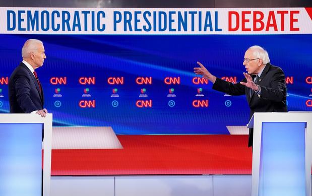 Biden en Sanders debatteren zonder publiek en hebben vooral kritiek op Trump