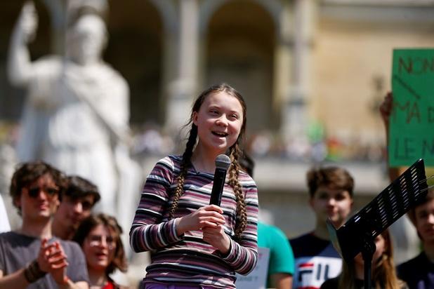 Greta Thunberg krijgt duizenden mensen op de been in Rome