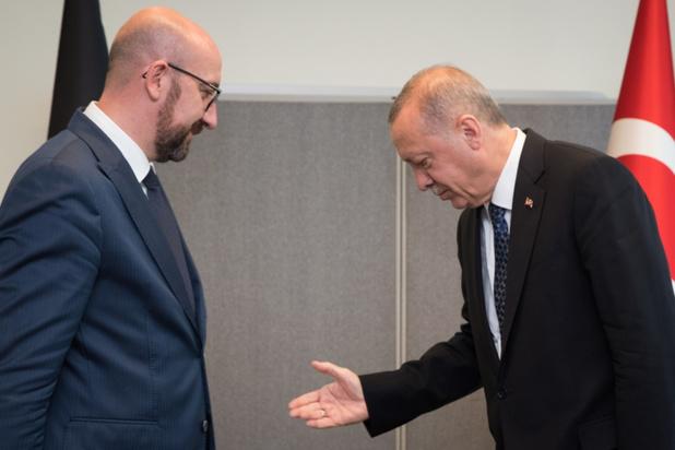 Europees Raadsvoorzitter Charles Michel ontmoet Turks president Erdogan