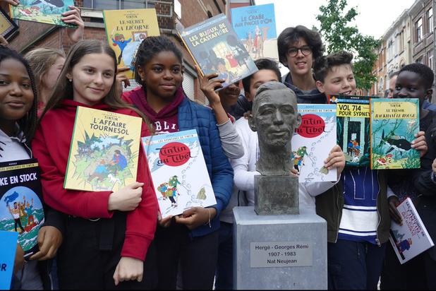 Inauguration d'un buste d'Hergé dans son quartier d'enfance à Etterbeek
