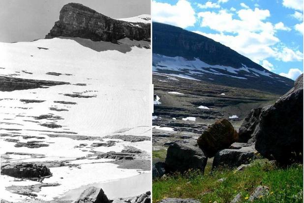 In beeld: dramatische toen-en-nu-foto's van smeltende gletsjers in Glacier National Park