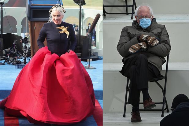 La robe de Lady Gaga et le look anti-mode de Bernie Sanders volent la vedette à Joe Biden