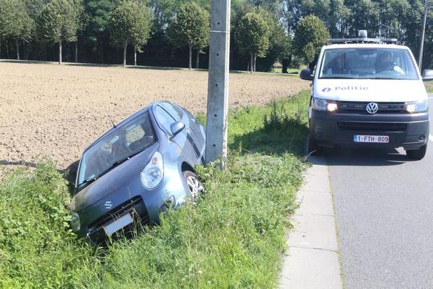Bestuurster gewond nadat ze door uitwijkmanoeuvre in gracht belandt