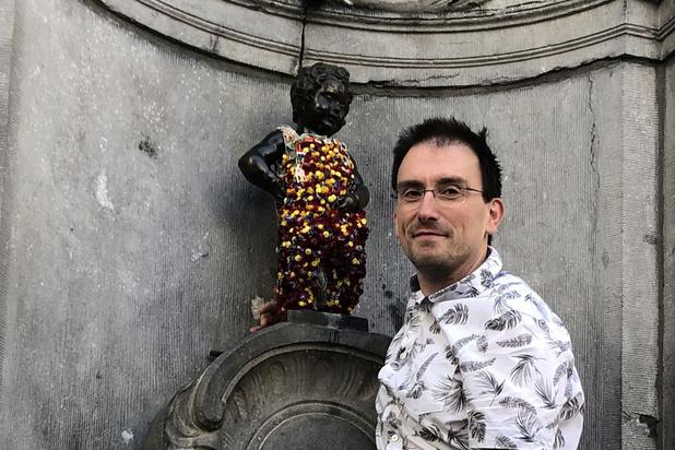 Manneken Pis couvert de fleurs à l'occasion du Flowertime 2019