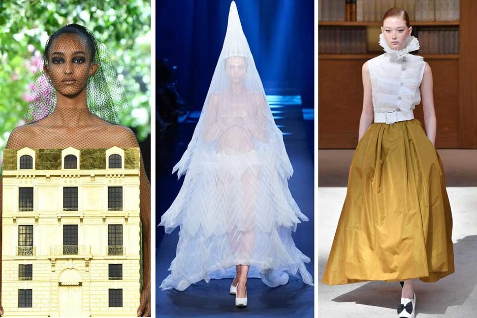 Haute couture in beeld: stijve kragen, tule, veren en een jurk in de vorm van een huis
