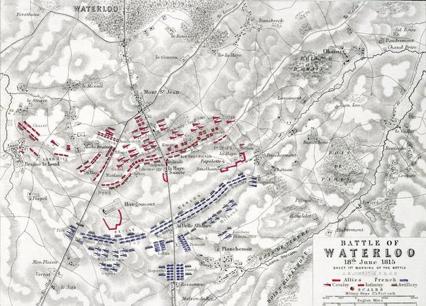 De Belgisch-Nederlandse troepen in de slag bij Waterloo