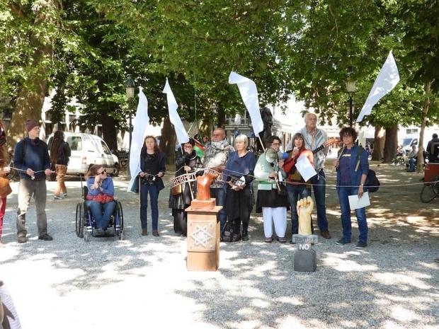 Stil vredesprotest voor Palestijnse kinderen op de Burg in Brugge
