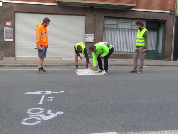 Ludieke 'guerrilla'-actie van fietsersbond Tielt