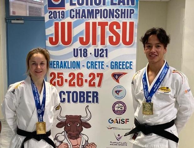 Ryan Lodens en Marion Decrop Europees kampioen jiujitsu