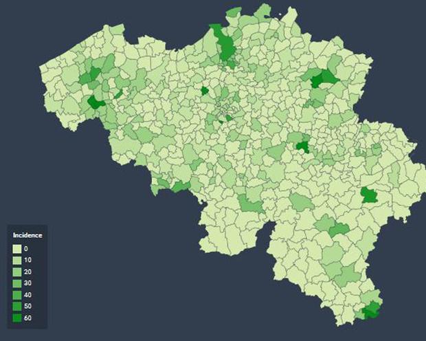 Coronavirus: les communes belges au plus grand nombre de personnes contaminées (Carte)