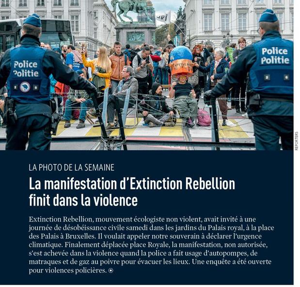 La manifestation d'Extinction Rebellion finit dans la violence