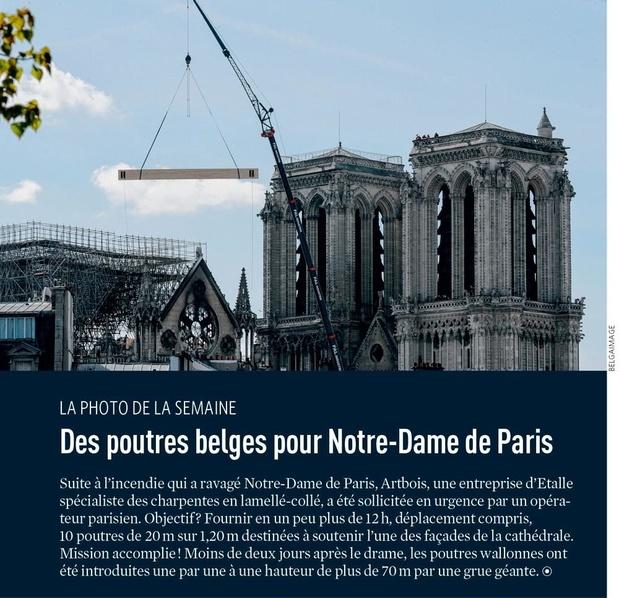 Des poutres belges pour Notre-Dame de Paris