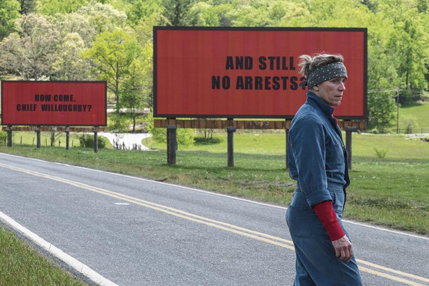 Tv-tip: Frances McDormand schittert in 'Three Billboards Outside Ebbing, Missouri'