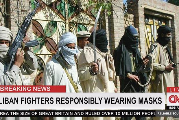 Nee, CNN heeft de taliban niet gefeliciteerd voor het dragen van mondmaskers