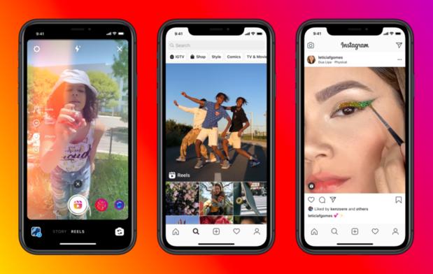 """Facebook lance """"Reels"""" sur Instagram, offensive face à son concurrent TikTok"""