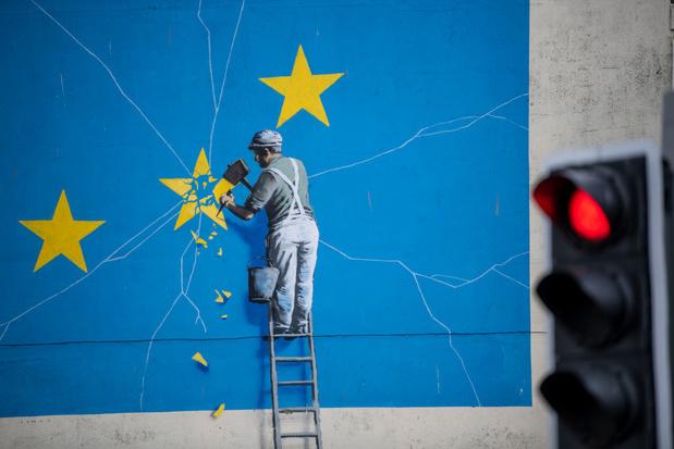 Brexit-muurschildering van Banksy op mysterieuze wijze verdwenen