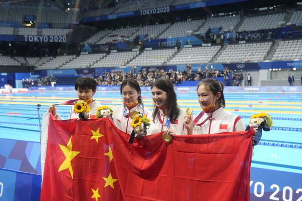 Victoire surprise et record du monde pour les nageuses chinoises sur le relais 4X200 m nage libre