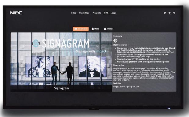 NEC va utiliser un logiciel de signalétique numérique belge dans le monde entier