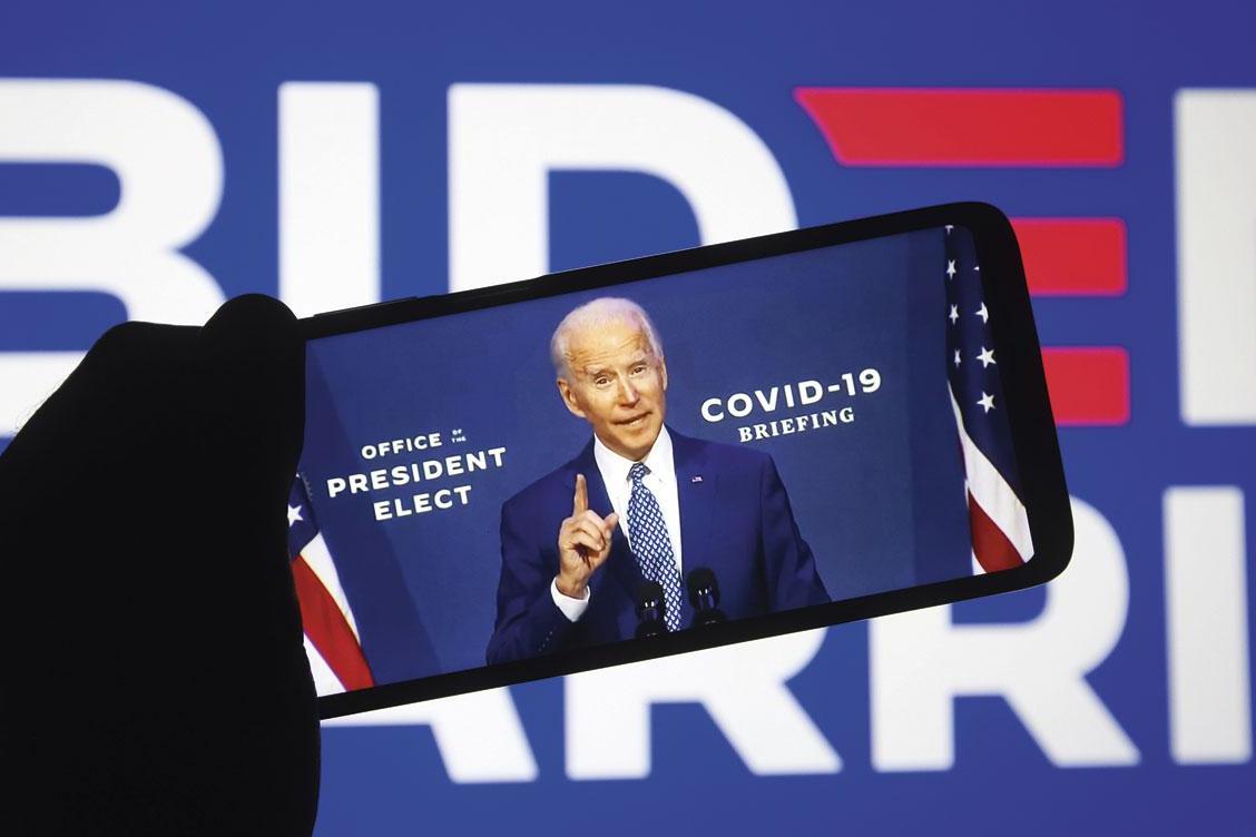 Le président élu Joe Biden. Wall Street affiche historiquement un gain de 13,6% par an lorsque le président est démocrate et le Congrès, divisé., BELGAIMAGE