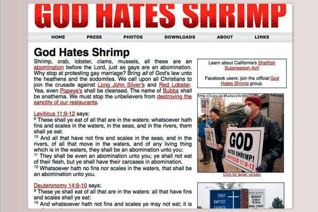 God Hates Shrimp, de website die u probeert te overtuigen van het feit dat God garnalen haat