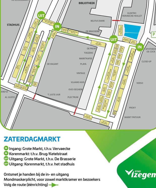 Zaterdagmarkt Izegem krijgt een tweede in- en uitgang om shopgemak te vergroten