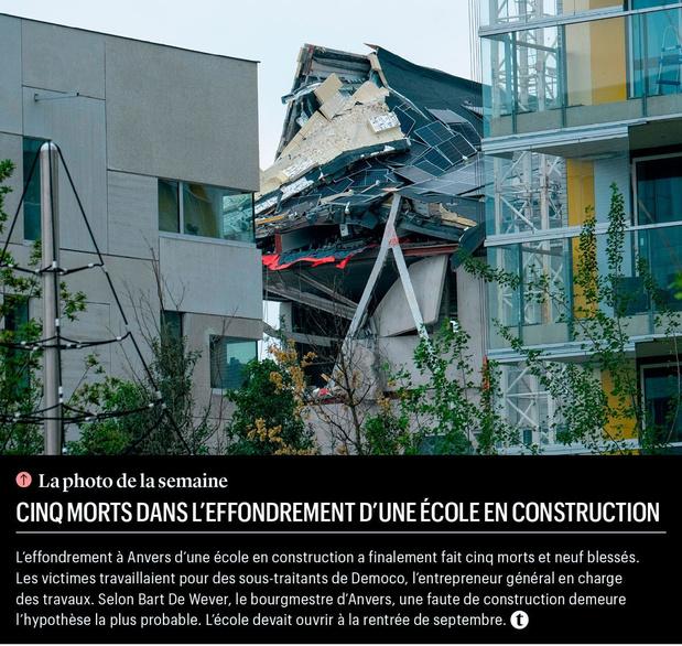 Cinq morts dans l'effondrement d'une école en construction