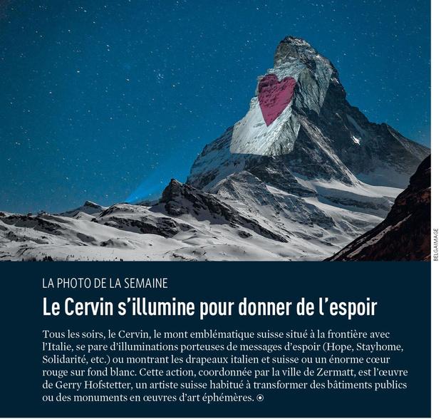 Le Cervin s'illumine pour donner de l'espoir