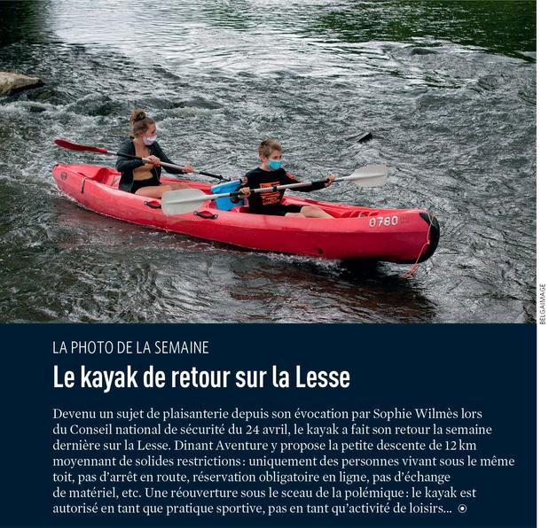 Le kayak de retour sur la Lesse