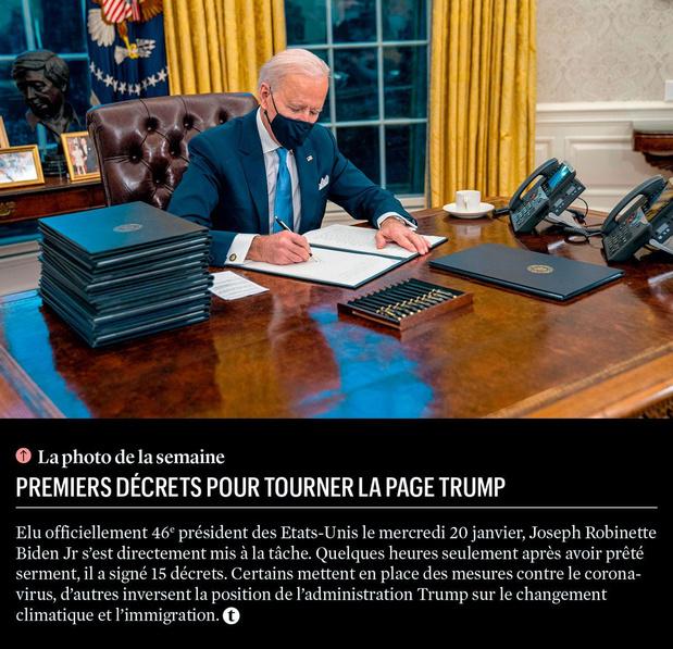 Premiers décrets pour tourner la page Trump