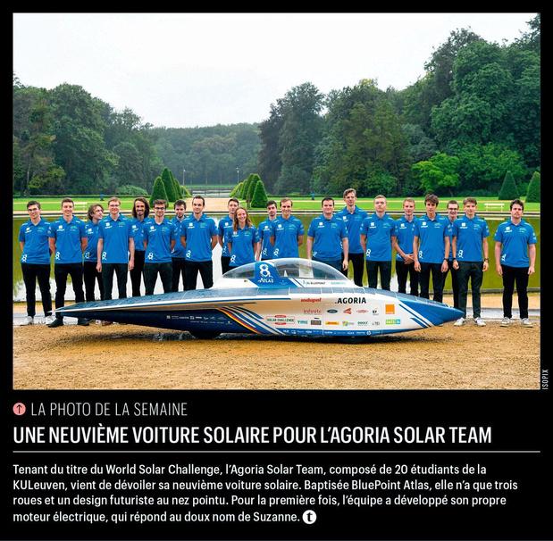 Une neuvième voiture solaire pour l'Agoria Solar Team