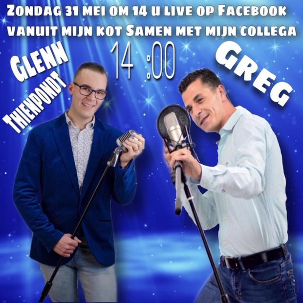 Greg doet het live op Facebook vanuit zijn kot, met gastoptreden van Glenn Thienpondt