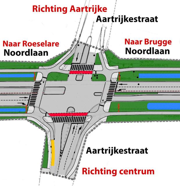 Kruispunt van Aartrijkestraat met Noordlaan in Torhout wordt tweederangs