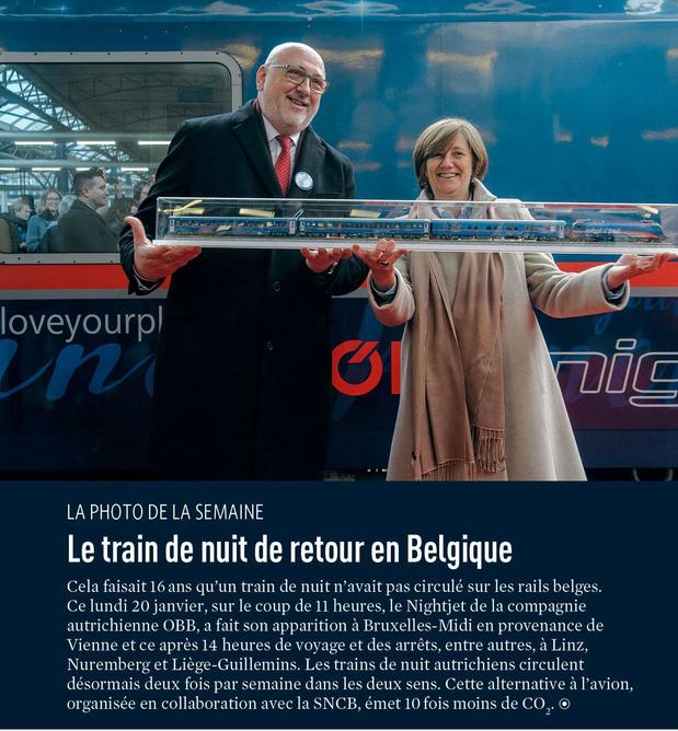 Le train de nuit de retour en Belgique