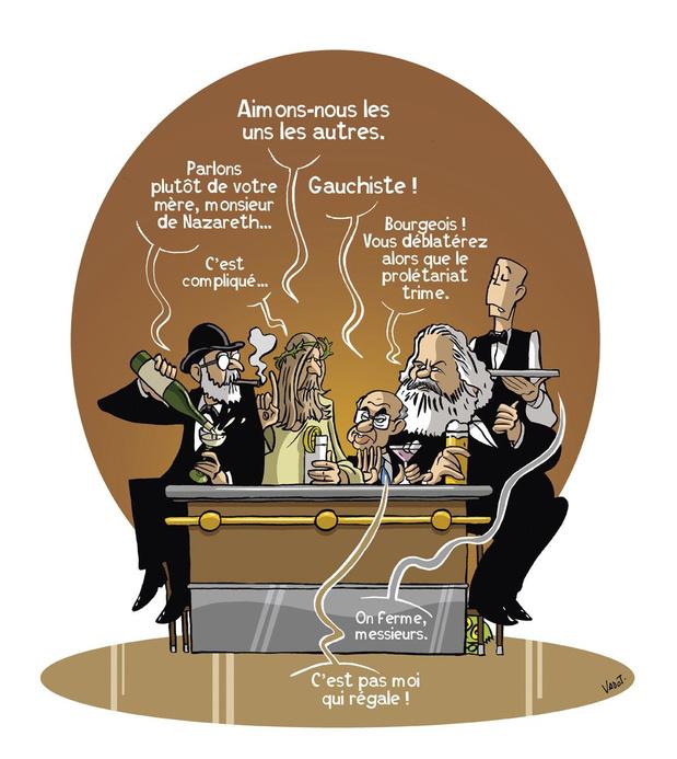 """Au zinc des prophètes: nous avons """"réuni"""" Jésus, Marx, Freud et Friedman dans un café bruxellois"""