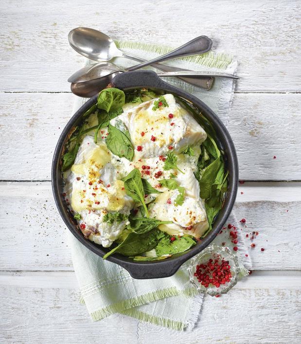 Koolvis met spinazie en mozzarella