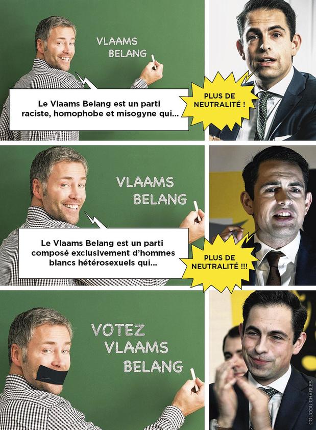 La caricature de Coucou Charles: la Vlaams Belang Academy