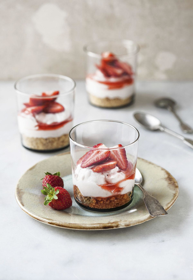 Verrines fraises cottage cheese
