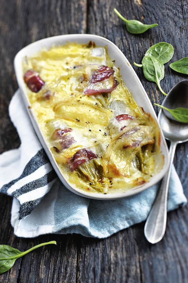 Witlofgratin met munster en pancetta