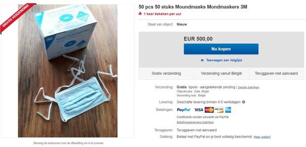 Mondmaskers aangeboden tegen woekerprijzen op tweedehandssites
