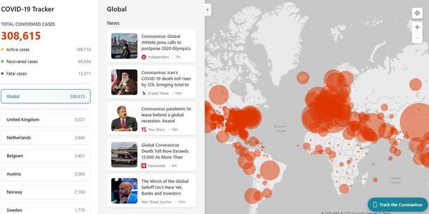 Le Covid-19 Tracker de Microsoft affiche en direct le nombre d'infections par pays