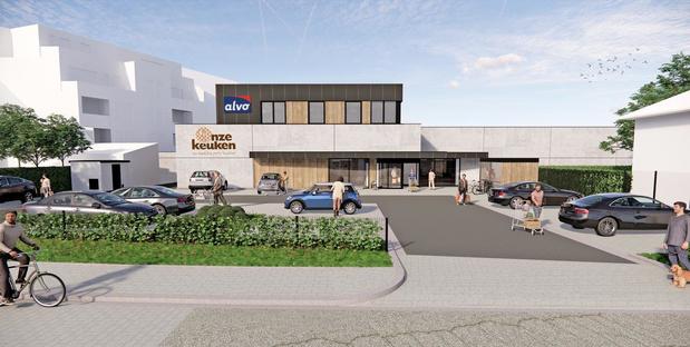 Nieuwe Alvo supermarkt op plaats van vroegere Proxy Delhaize in Oostnieuwkerke