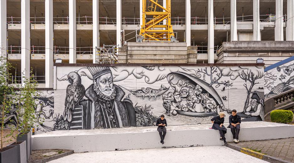 En images: Découvrez l'oeuvre de Bruegel à la sauce street art, au coeur de Bruxelles