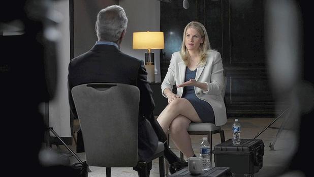Frances Haugen, oud-productmanager van Facebook, in een interview voor de Amerikaanse televisie